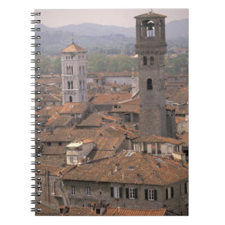 Europe, Italy, Tuscany, Lucca, Town panorama Spiral Notebook