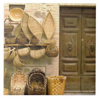 Europe, Italy, Tuscany, Montalcino. Basket Ceramic Tile