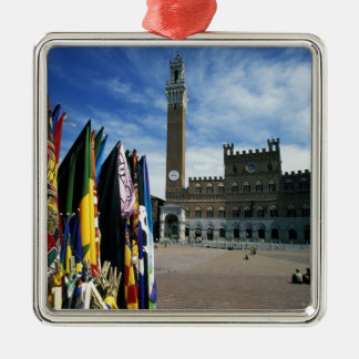 Europe, Italy, Tuscany, Siena. Piazza del Silver-Colored Square Ornament