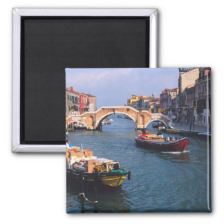 Europe, Italy, Venice. Boats bringing in Square Magnet