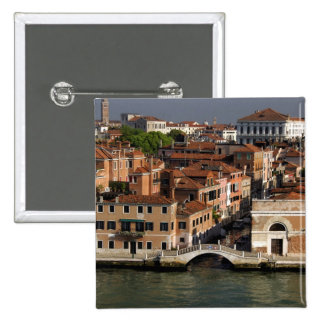 Europe, Italy, Venice. Canal views. UNESCO 2 Inch Square Button