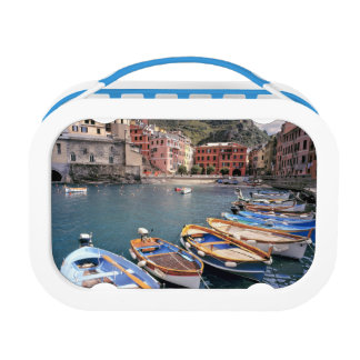 Europe, Italy, Vernazza. Brightly painted boats Lunch Box
