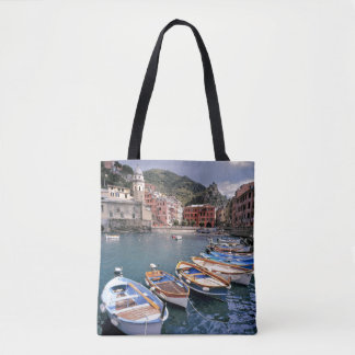 Europe, Italy, Vernazza. Brightly painted boats Tote Bag