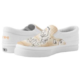 ~Europe~ Khaki Brown Map Slip-On Sneakers