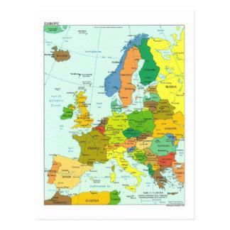 Europe map postcard
