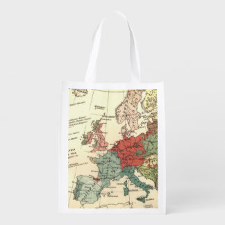 Europe Map Vintage Travel Reusable Grocery Bags