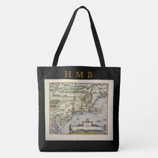 Europe North Sea Vintage Old World Map Monogram Tote Bag