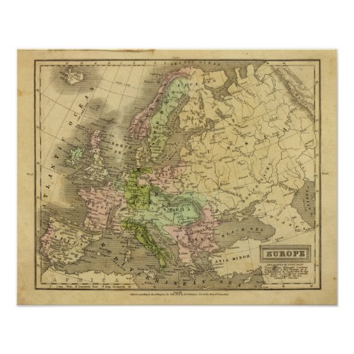 Europe Olney Map Poster