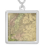 Europe Olney Map Silver Plated Necklace