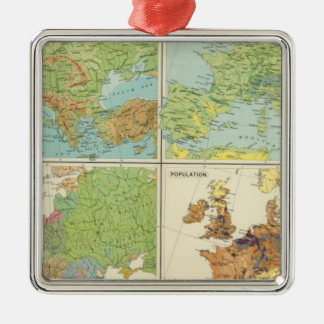 Europe physical features & population Map Silver-Colored Square Ornament