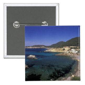 Europe, Spain, Balearics, Ibiza, Cala de 2 Inch Square Button
