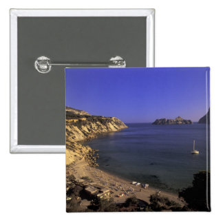 Europe, Spain, Balearics, Ibiza, Cala d'Hort 2 Inch Square Button