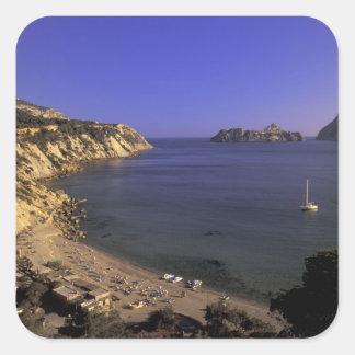 Europe, Spain, Balearics, Ibiza, Cala d'Hort Square Sticker