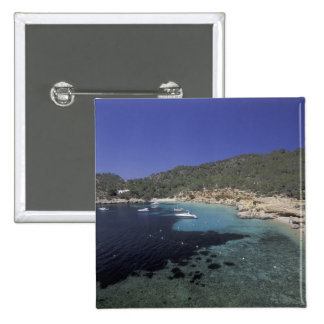 Europe, Spain, Balearics, Ibiza, Cala Salada. 2 Inch Square Button