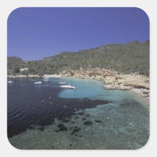 Europe, Spain, Balearics, Ibiza, Cala Salada. Square Sticker