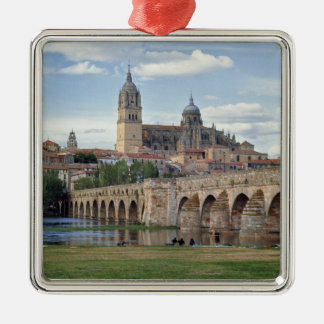 Europe, Spain, Salamanca. The Roman bridge over Silver-Colored Square Ornament