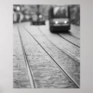 Europe, Switzerland, Berne. Tram tracks, Poster