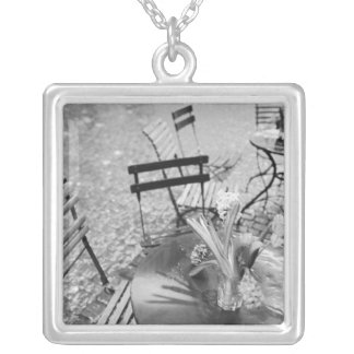 Europe, Switzerland, Lucerne. Outdoor cafe table Square Pendant Necklace