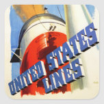 Europe to America ~ United States Lines Square Sticker