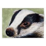 European Badger Cub Painting Note Card