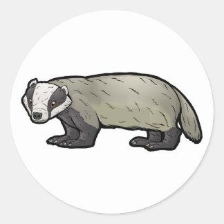 European Badger Round Sticker