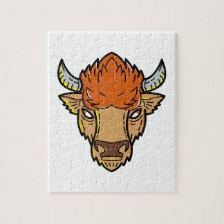 European Bison Mono Line Art Jigsaw Puzzle