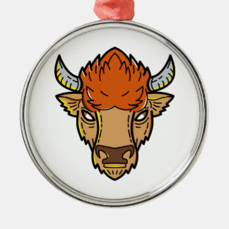 European Bison Mono Line Art Metal Ornament