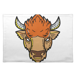 European Bison Mono Line Art Placemat