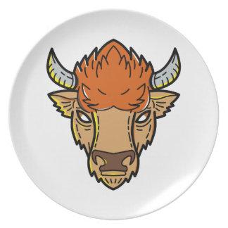 European Bison Mono Line Art Plate