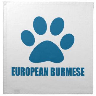 EUROPEAN BURMESE CAT DESIGNS NAPKIN
