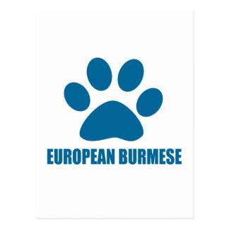 EUROPEAN BURMESE CAT DESIGNS POSTCARD