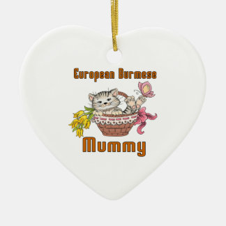 European Burmese Cat Mom Ceramic Heart Ornament