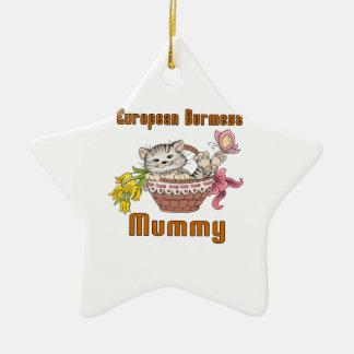 European Burmese Cat Mom Ceramic Star Ornament