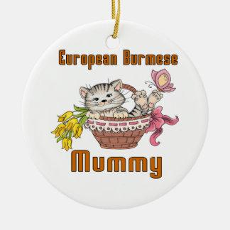 European Burmese Cat Mom Round Ceramic Ornament