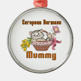 European Burmese Cat Mom Silver-Colored Round Ornament