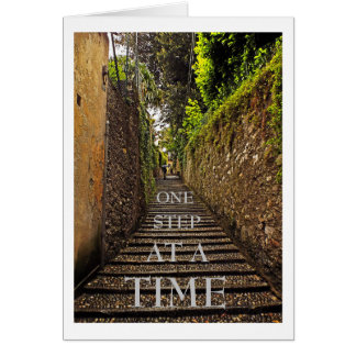 EUROPEAN COBBLESTONE STAIRWAY /ONE STEP AT A TIME CARD