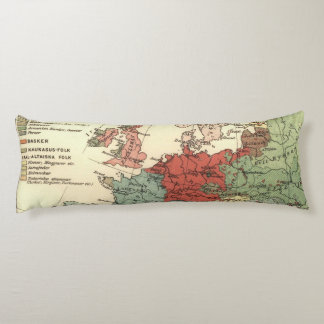 European Continent Map Vintage Body Pillow