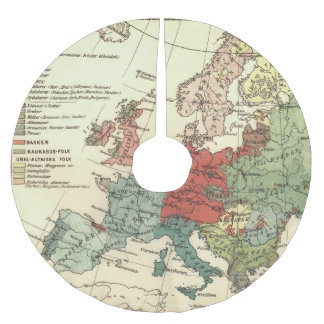 European Continent Map Vintage Brushed Polyester Tree Skirt