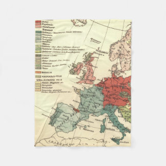 European Continent Map Vintage Fleece Blanket