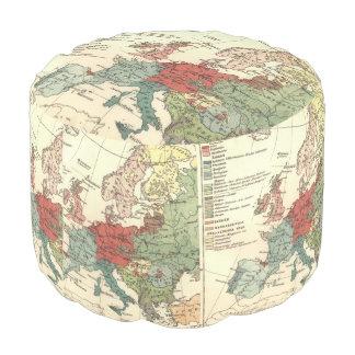 European Continent Map Vintage Pouf