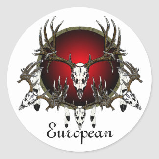 European  deer skulls classic round sticker