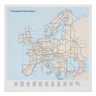 European E-Road Network Map Poster