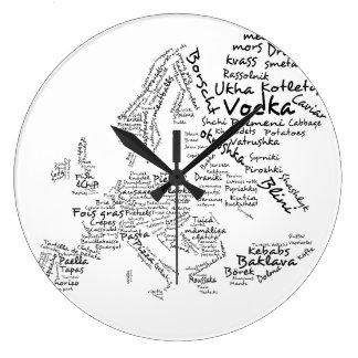 European Food Map Kitchen Clock