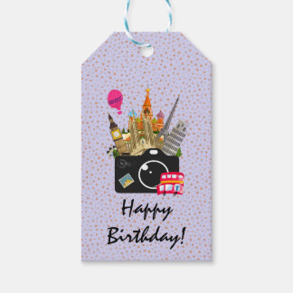 European Landmarks with a Camera Happy Birthday Gift Tags