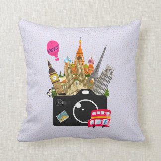 European Landmarks with a Camera Throw Pillow