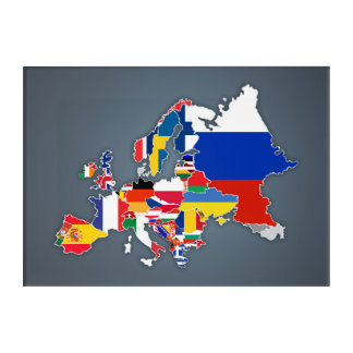European Map | Country Flags Acrylic Wall Art