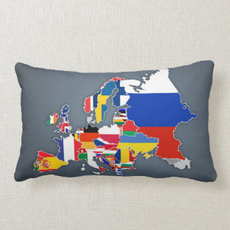 European Map | Country Flags Lumbar Pillow