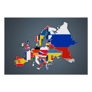 European Map | Country Flags Poster