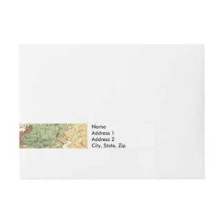 European map vintage travel wraparound address label