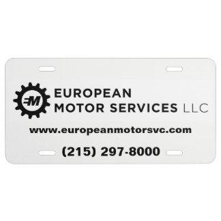 European Motor Services, LLC - Metal Plate